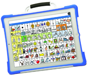 The front of a PRiO-mini with LAMP Words for Life app displayed
